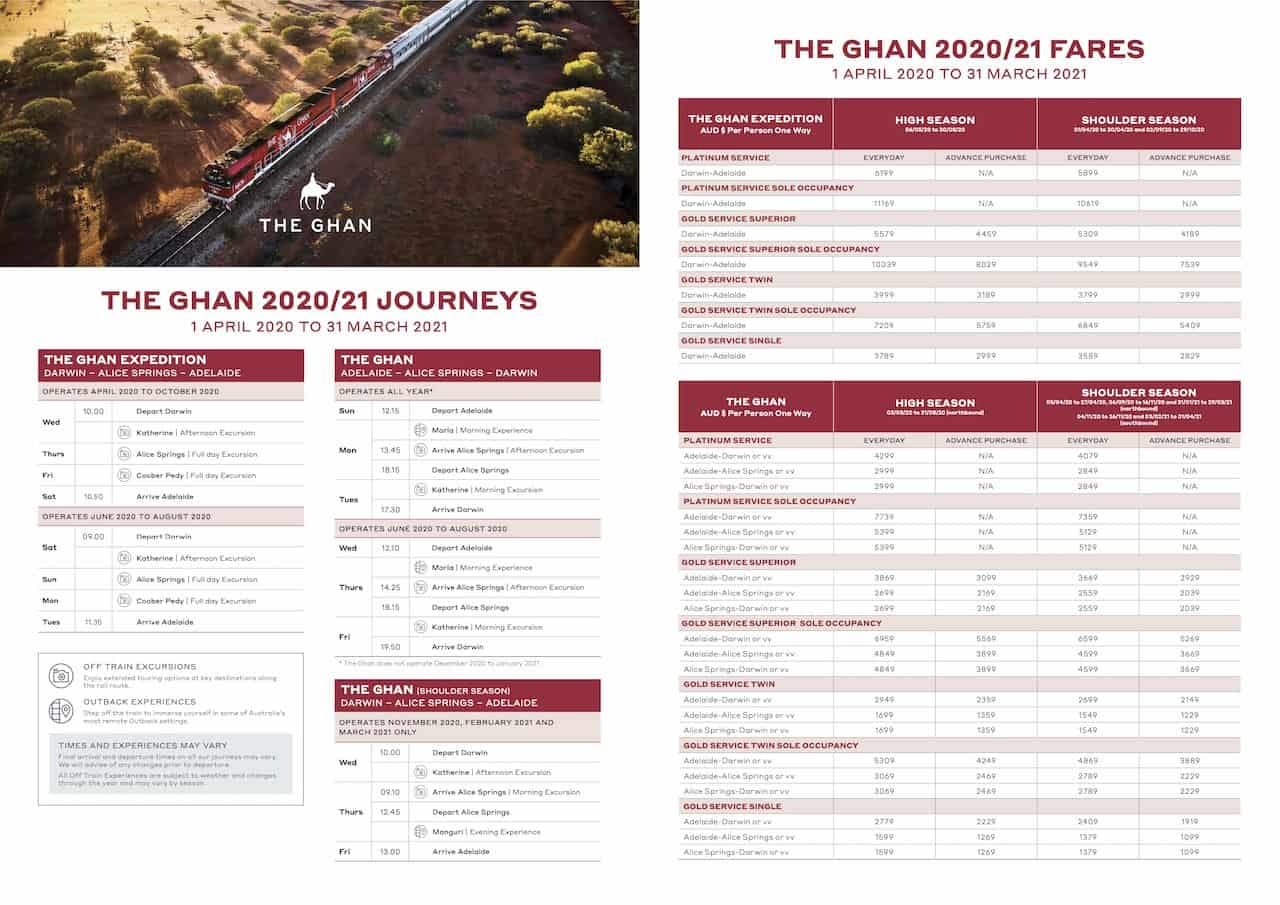 The Ghan Timetable 2020