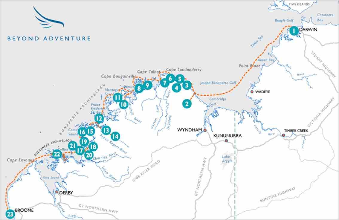 Beyond Adventure Kimberley Cruise map